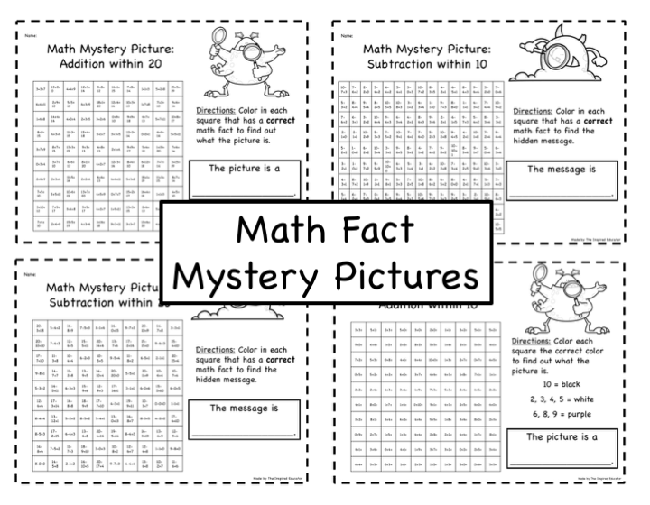 Mystery Pictures: Math Fact Practice