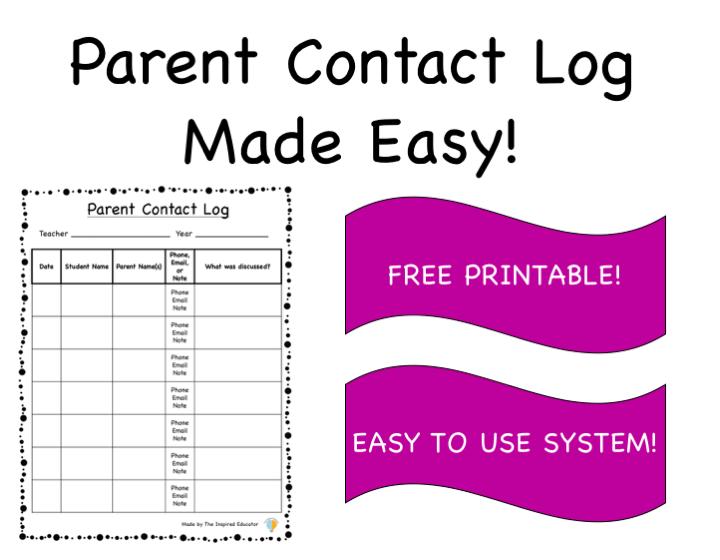Parent Contact Log Made Easy!
