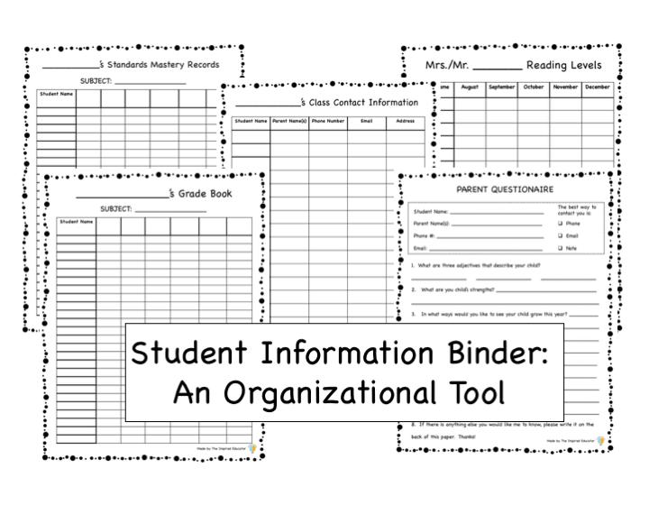 Student Information Binder: An Organizational Tool