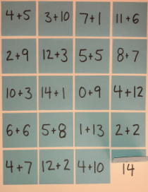 Post-It Math Facts Example