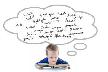 child thinking of professions