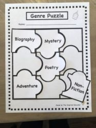 Genre Jigsaw Puzzle for independent reading accountability