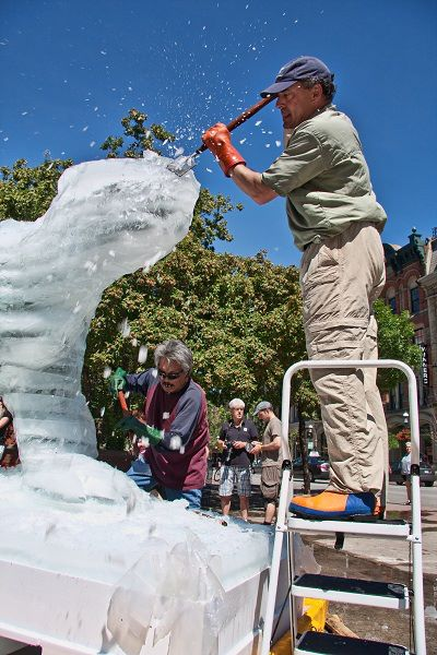 The Ice Bear Project involved carving a bear from a three metre block of ice for the public to see in six different cities.