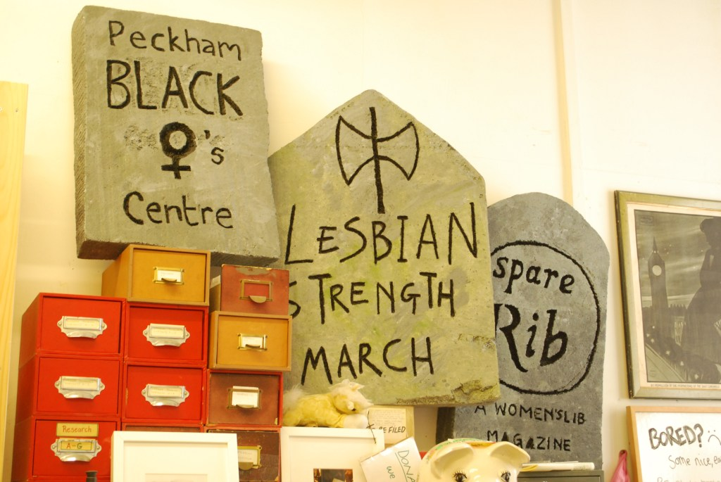 Old protest banners at the Feminist Library