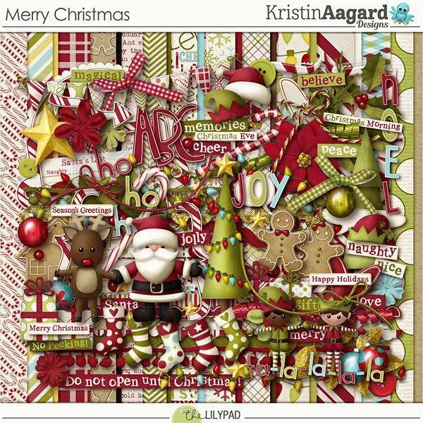 Digital Scrapbook Kit Merry Christmas Kristin Aagard