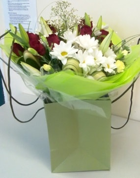 Rose-and-Lily Hand-Tied-Bouquet-the-little-flower-shop-florist-london-clapham-plant-shop-flowers-online-bouquets-online