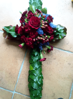 Rose and Carnation Funeral Cross 3ft-the-little-flower-shop-florist-london