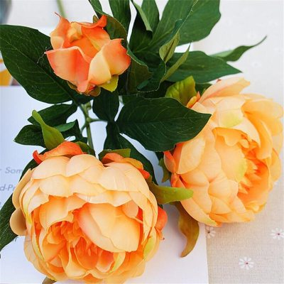 Artifical-flowers-peony-pink-peonies-fake-plants-artificial-the-little-flower-shop-florist-london-uk-delivery-faux-flowers-orange
