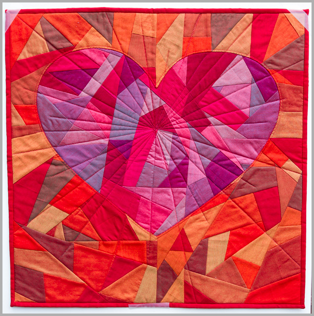 Fragmented Heart, Or Rubies For A Ruby – Blogger's Quilt Festival Original Design