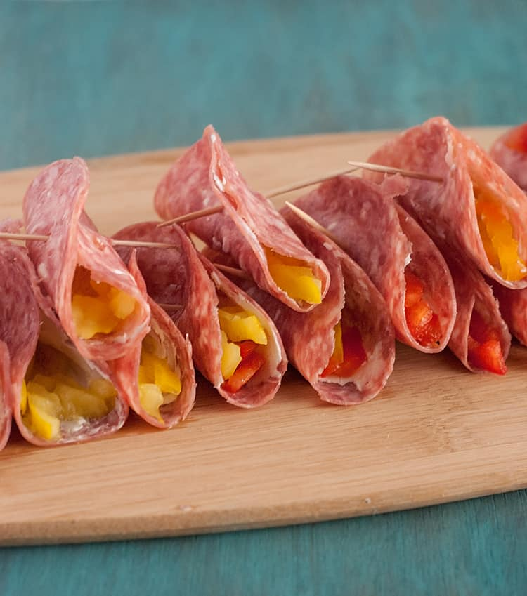 Salami & Cream Cheese Roll Ups - quick, easy, and sure to please!