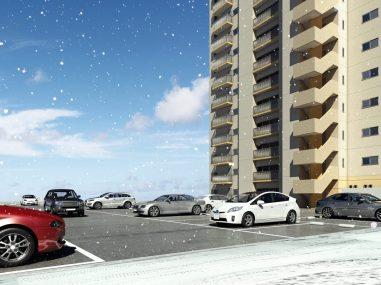 ザ・マークス南通 ロードヒーティング仕様 平面駐車場(雪)