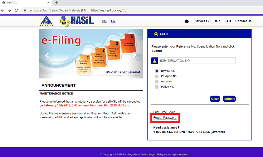 How To Reset Lhdn E Filing Password The Money Magnet
