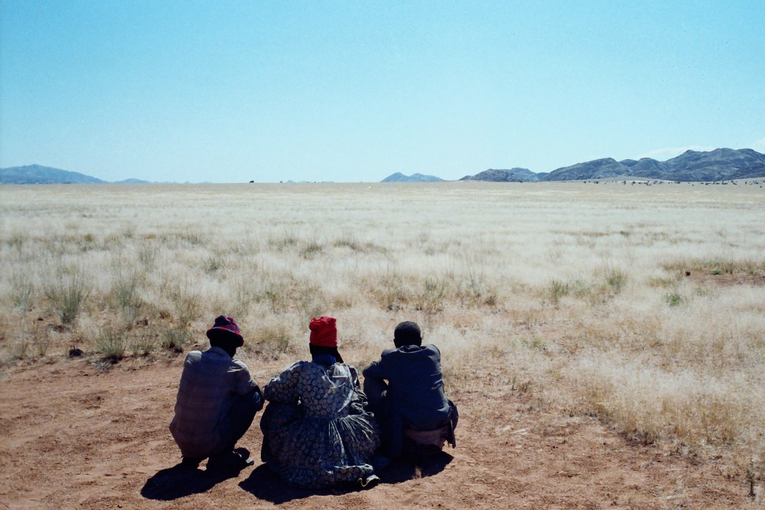 Greeting the ancestors, |Giribes Plains, Kunene Region, Namibia. Photo: Sian Sullivan 1995.