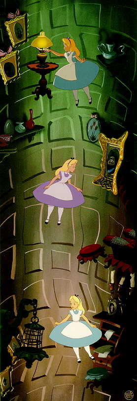 Image result for alice in wonderland 1951 falling down the rabbit hole