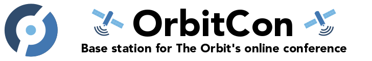 "Text: ""OrbitCon: Base station for The Orbit's online conference"" Text is flanked by two broadcast satellite icons."