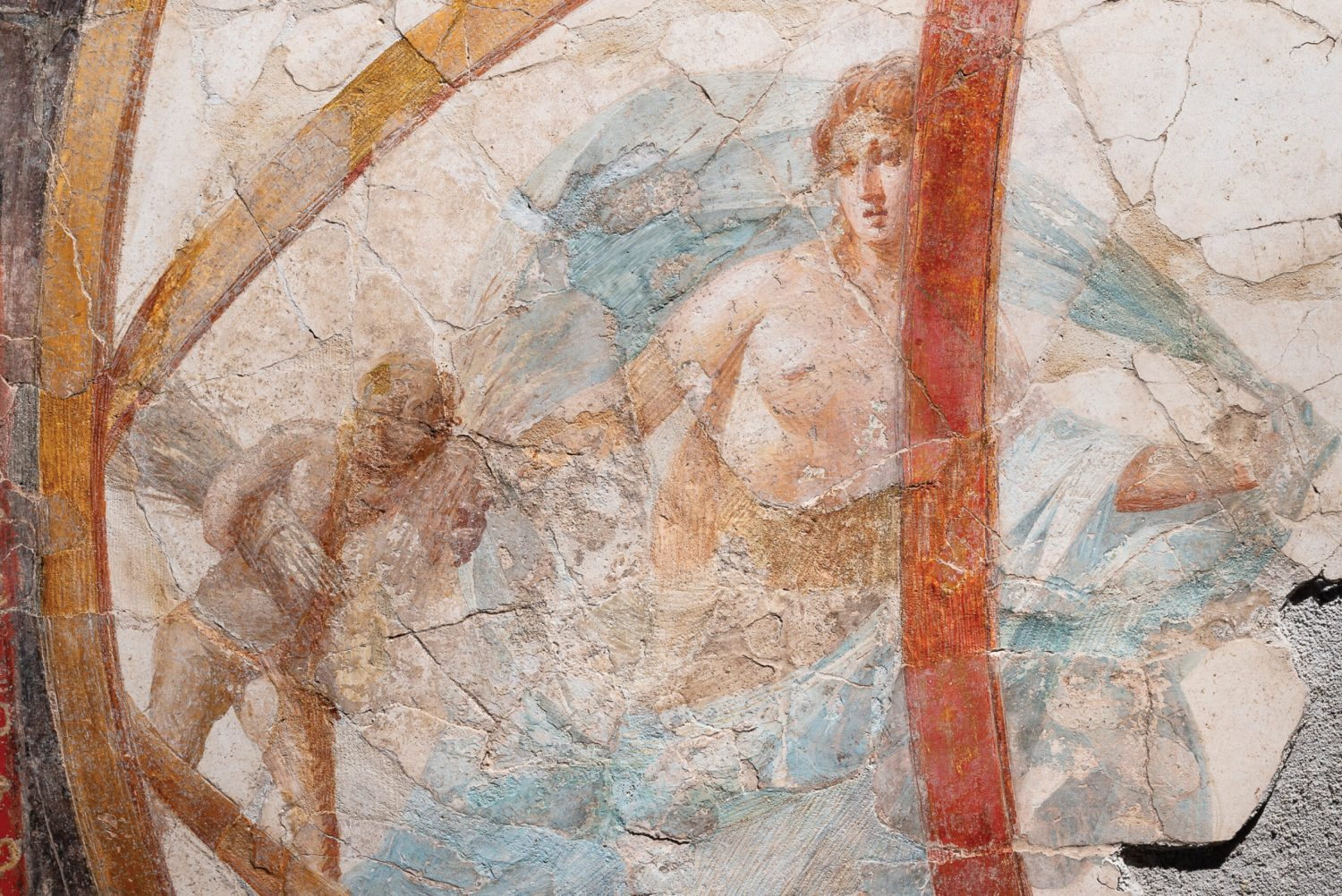 OPPOSITE Part of the frescoed ceiling from the portico of the Villa San Marco, showing a planisphere (an astronomical chart) with personifications of the seasons. 1st century AD. ABOVE A fragment of marble floor made using the opus sectile technique, which features large pieces of coloured stone. Villa San Marco, 1st century AD.
