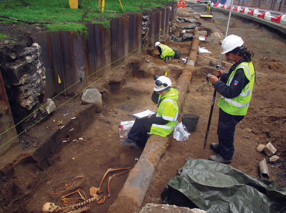 above More than 350 skeletons were recovered during recent excavation in Leith. Above right Underneath the medieval cemetery was a stand-alone crouched burial when and why this woman was buried here remains a mystery.