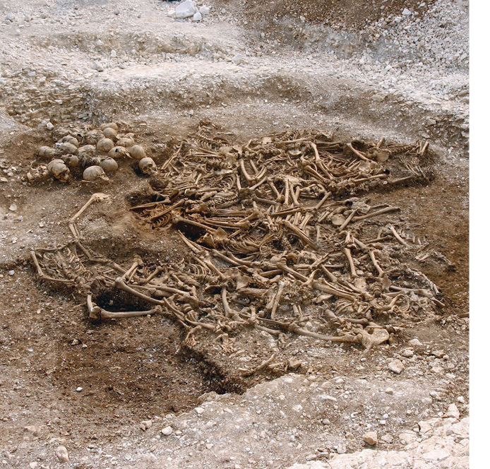 LEFT The Ridgeway Hill mass grave in Dorset (see CA 299) which featured in the DNA study.