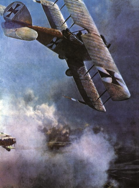 A German Albatross in action against British fighters over the Western Front in 1917.
