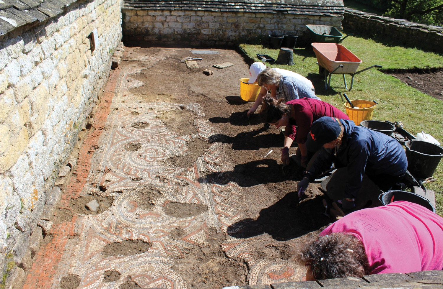 opposite Recent radiocarbon dating of materials excavated at Chedworth Roman villa in Gloucestershire suggests that this mosaic may have been laid after AD 424 which would make it Britain's first-known 5th-century mosaic.