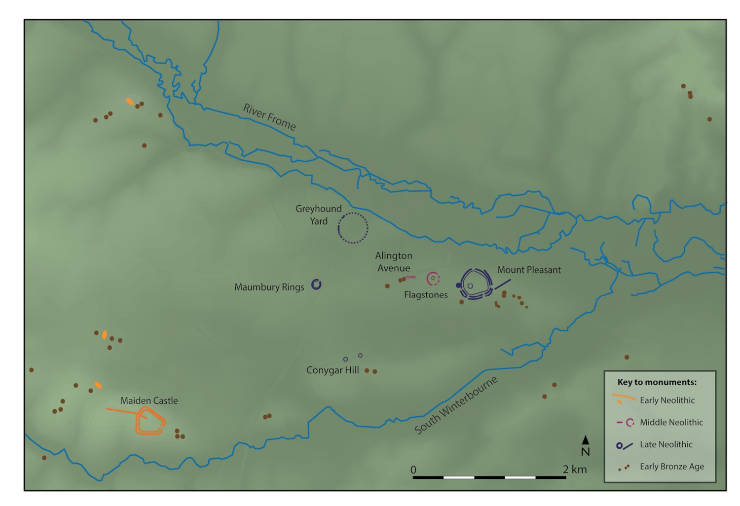 left This map shows the wider prehistoric landscape around Mount Pleasant known as the 'Dorchester complex' showing its key Neolithic and early Bronze Age monuments.