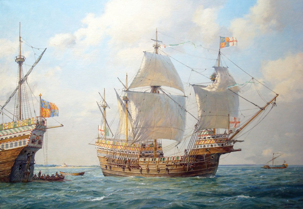 The Mary Rose, as she would have looked in 1545, in a painting by Geoff Hunt.