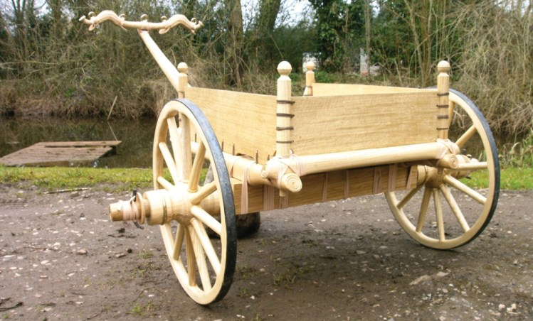 LEFT Chariots from Yorkshire are among the excavated examples that have been used by Robert Hurford as the basis for the reconstructions of Iron Age chariots that he has created for use in documentary TV and film. This one is based on a chariot found at Ferry Fryston, near Wakefield in West Yorkshire, with its heavily made axle and its body made of timber panels sewn with leather thongs. BELOW This map shows the distribution of the thousands of square barrows that have now been recorded in Iron Age cemeteries in East Yorkshire. Their location does not seem to be random: in the Wolds they are positioned along drove ways, and in the lowlands, close to watercourses, of which there are many as a result of rising sea levels and the inundation of the Humber hinterland in this period.