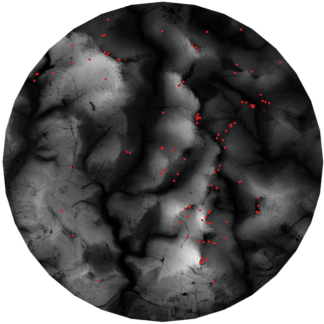 left A 'total viewshed' of an area in southern Dartmoor. Parts of the landscape visible from many places are shown in white; parts that are less visible are darker. When the locations of barrows were plotted (as red dots), many appeared to be clustered in the least visible parts of this landscape.
