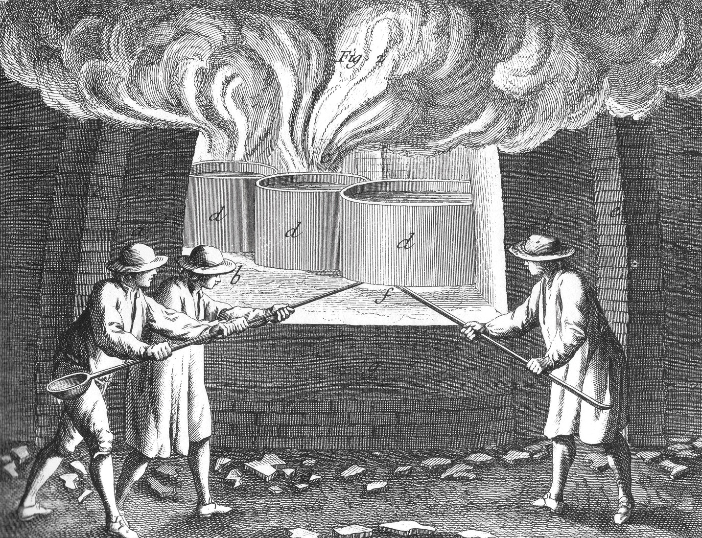 ABOVE Denis Diderot's famous Encyclopédie (in English, Encyclopedia, or a Systematic Dictionary of the Sciences, Arts, and Crafts), published in France between 1751 and 1772, illustrates various stages in the making of glass. Here the crucibles (d) full of raw materials are being introduced into the furnace to begin the melting process.