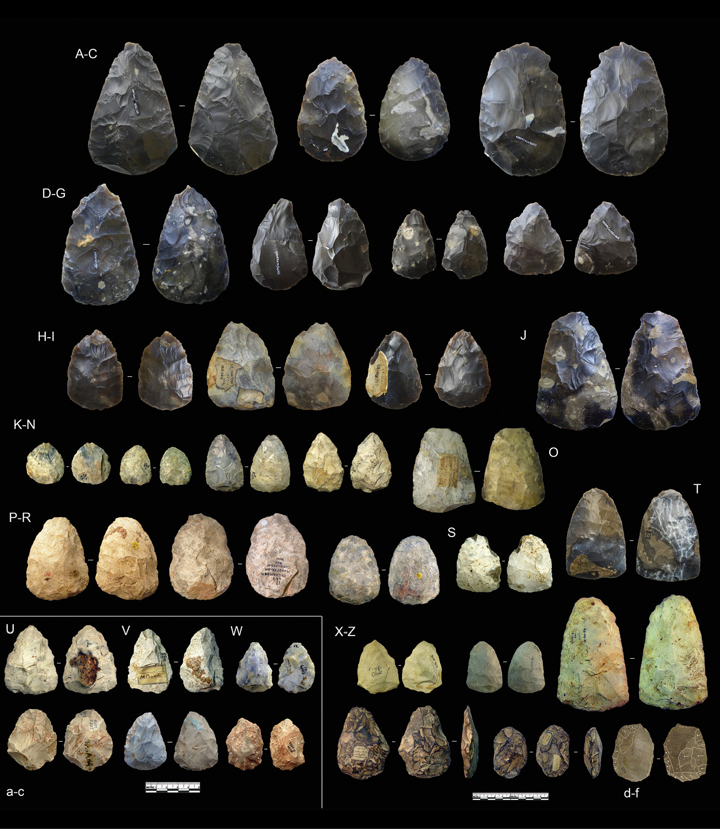 left & above An array of handaxes, or bifaces, and an example of the distinctive D-shaped form known as bout coupé from Castle Lane, Bournemouth.