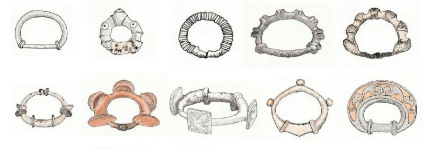 ABOVE Various terrets from British sites dating from the late Iron Age. Terrets, or rings attached to the yoke to guide the reins, have been found in such numbers throughout Britain as to suggest that chariot use was commonplace. Used in sets of five (four for the reins, and a larger central terret for securing the yoke to the chariot pole), the classic British terret is D-shaped and embellished with studs, ribs, or incised decoration.