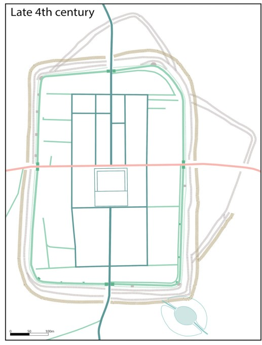 LEFT In the 4th century, Isurium seems to have entered a marked decline. Some of its public buildings appear to have gone out of use, or seen changes of purpose in this phase plan, we can see how a new defensive ditch to the south cut into the amphitheatre, putting it out of use.