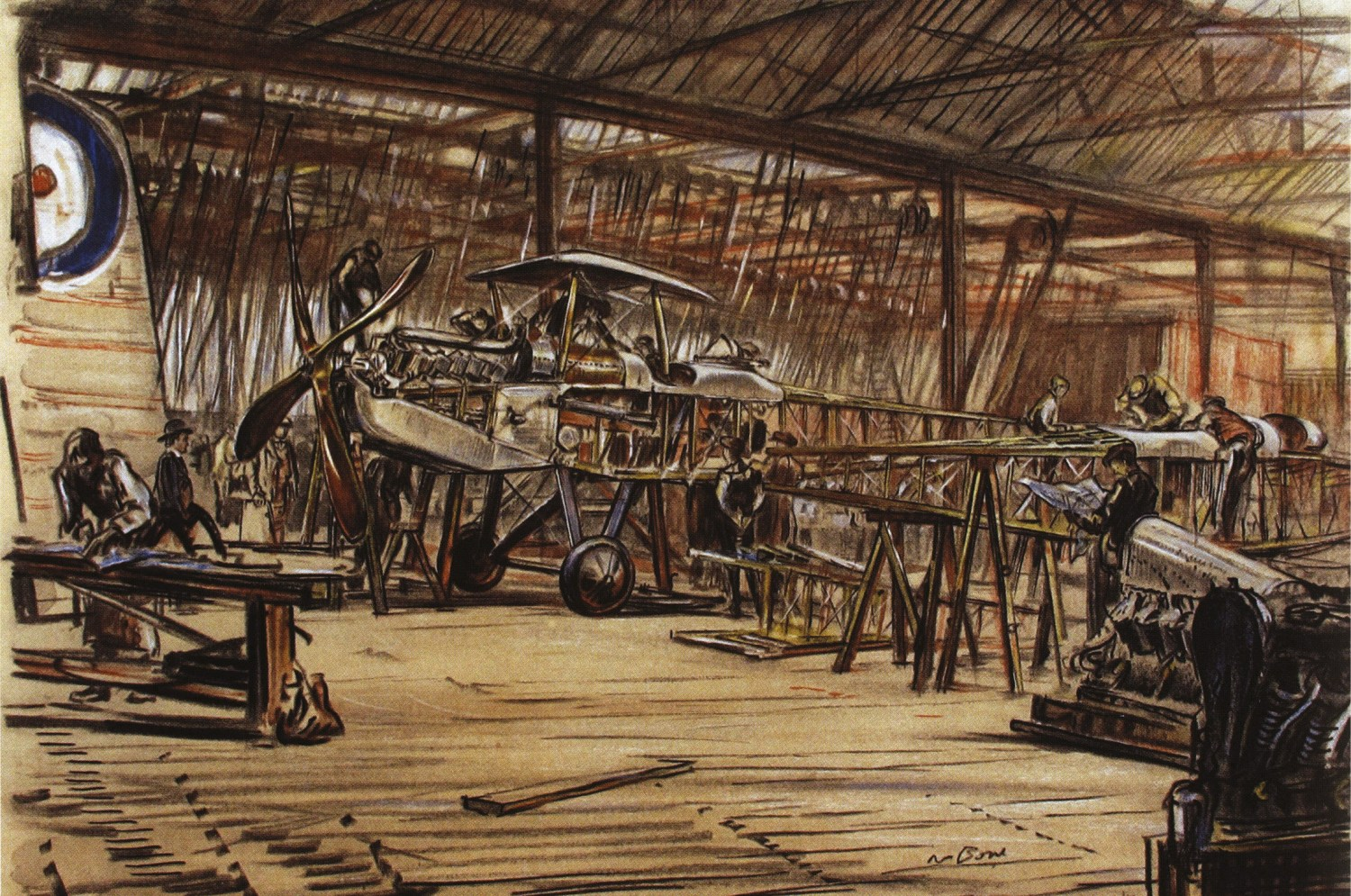 The Coventry Ordnance Works in 1917. This contemporary painting by artist Muirhead Bone underlines the workshop nature of aircraft production during the First World War.