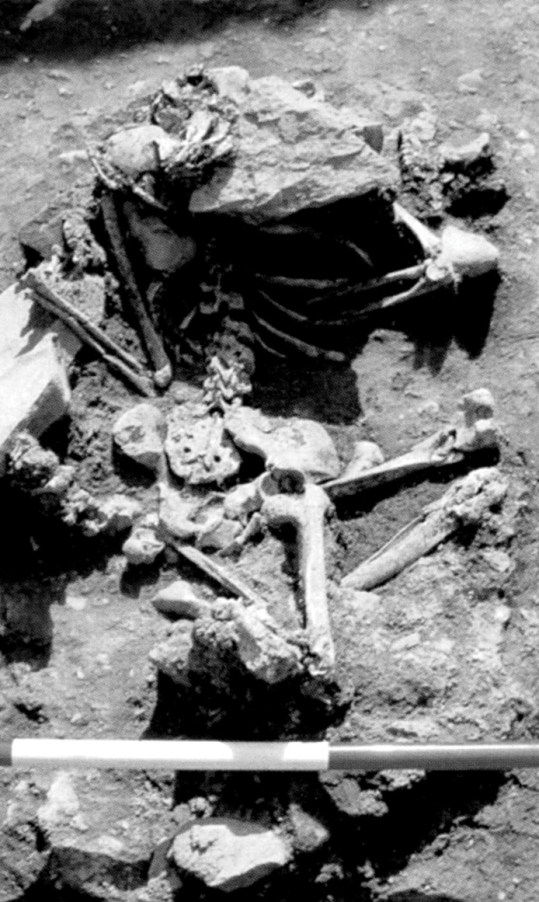 ABOVE Burial B4 at Knowth, a flexed and prone female dating to the 1st to 3rd centuries AD, was buried, like several other people in the group, with 43 blue glass beads, which may have been stitched to her clothing as a symbol of group identity. The heavy stone placed over her head might indicate a desire to prevent her spirit rising from the grave to haunt the living.