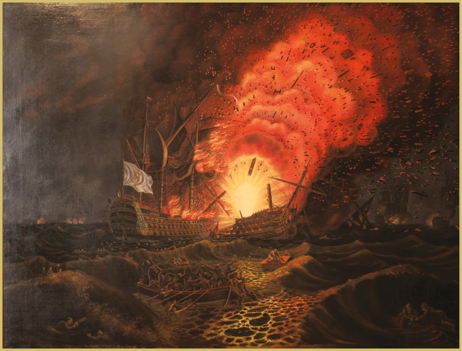 ABOVE The 74-gun French ship César explodes at the Battle of the Saintes.