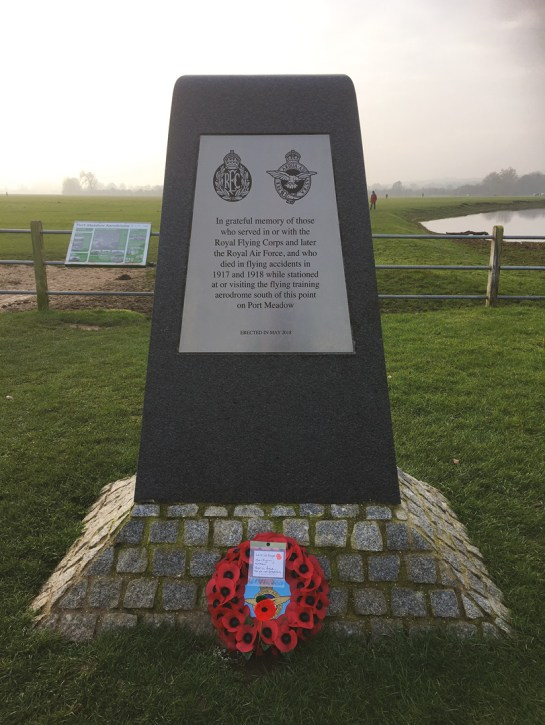 ABOVE & RIGHT The Wolvercote WWI Aerodrome Memorial Project sought to raise awareness of this little-known aspect of this leisure site's history, and in 2018 they had a memorial erected to honour the 17 airmen who lost their lives while training and visiting the aerodrome.