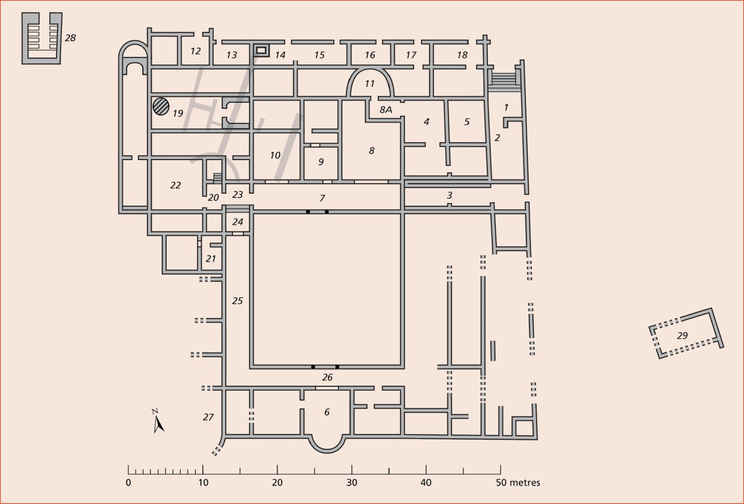 ABOVE The plan of the Caddeddi villa, with room numbers referred to in the text.