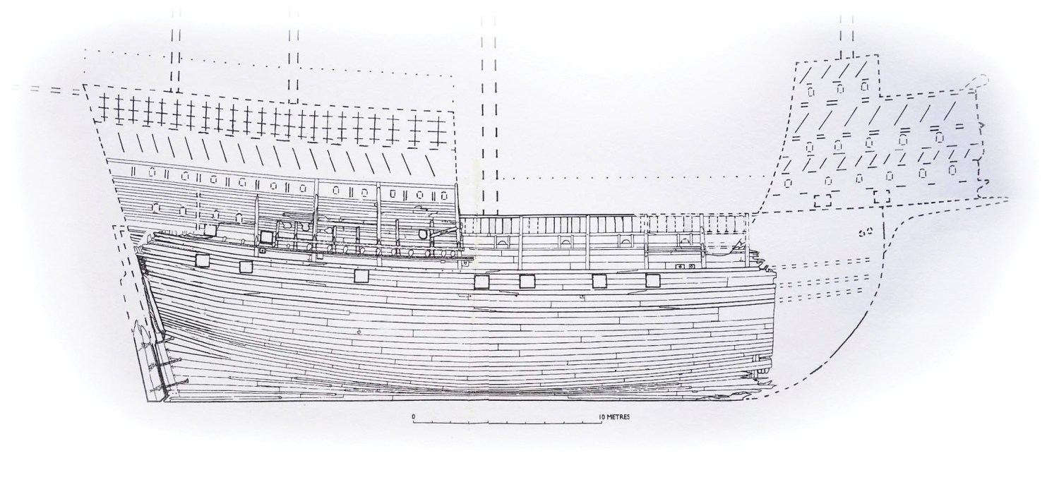 above This reconstructed outboard elevation of the Mary Rose, as she was in 1545, is based on the surviving remains of the ship and pictures of contemporary carracks, as well as the Anthony Roll view of the ship (pictured on p.39). The eroded forecastle and sterncastle at either end are based on images of the Mary Rose and of large carracks of the same period.