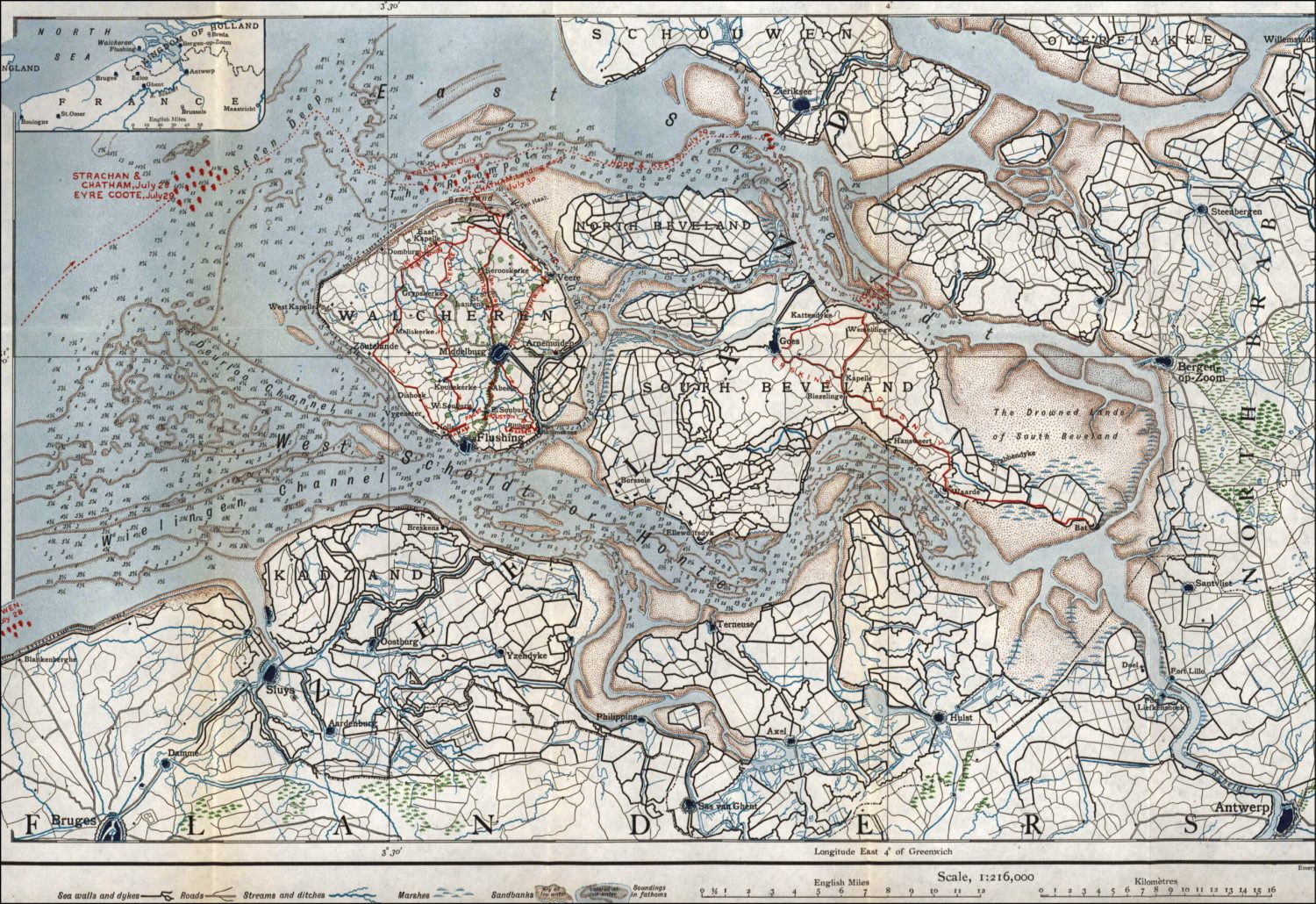 BELOW The Walcheren Campaign was fought amid the maze of low-lying land and intersecting rivers and channels on the Dutch coast. This general plan gives a vivid impression of the landscape in 1809, and shows the major sites mentioned in the text.