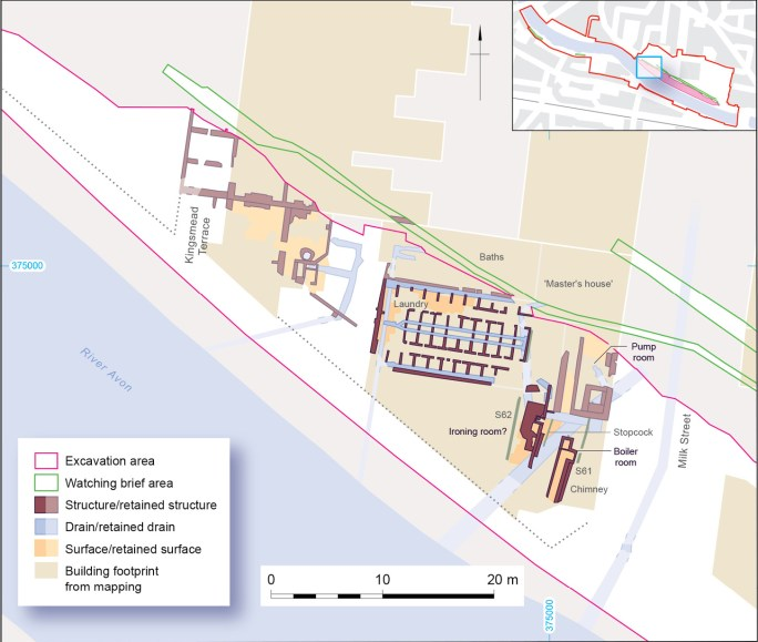 RIGHT The original design of the Milk Street Baths was modest, but demand quickly oustripped supply and the facilities were significantly expanded as these plans from Wessex Archaeology's investigations illustrate.