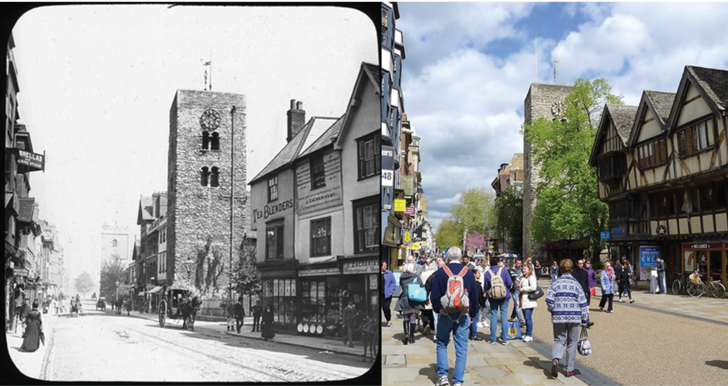 above These photographs show Oxford's Cornmarket Street c.1885 (HEIR ID 41566; photo by Henry W Taunt) and in 2016 (HEIR ID 57110; photo by Philip Salmon).
