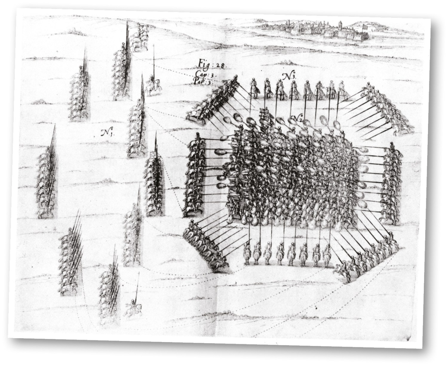 below A contemporary military manual, illustrating the drill of mounted pistoleers. RIGHT A contemporary representation of cavalry versus infantry combat in the 'pike-and-shot' era.