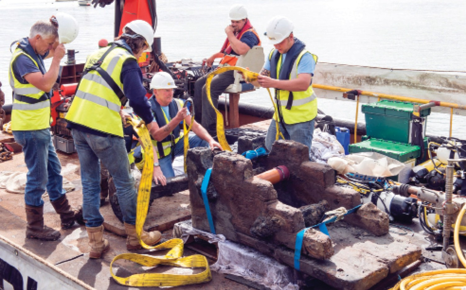 above This gun carriage, recovered intact, would once have cradled one of the London's 76 bronze cannon; it and the vessel's ordnance were the subject of a feature in CA 308.