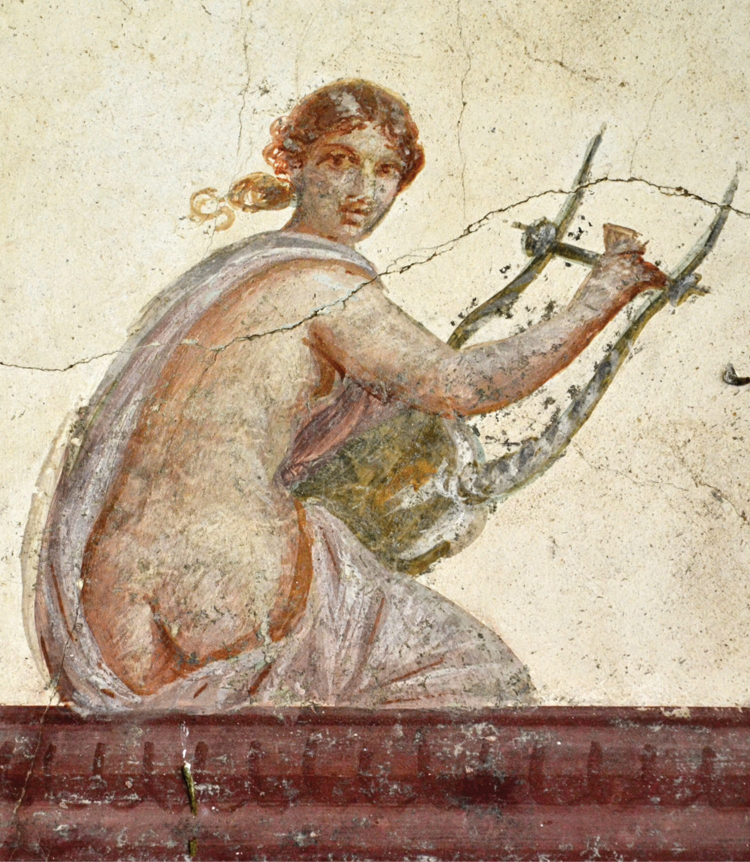 BELOW Detail of a wall-painting in Villa San Marco showing a woman playing the lyre. 1st century AD.