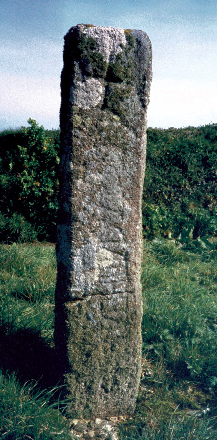 ABOVE Evidence of the links between Irish and Cornish Christians in the 6th century comes from the inscription on this memorial stone, later reused as a wayside cross, two miles west of St Endellion, Cornwall. The Latin inscriptions says: 'Here lies Brocagnus, son of Nadottus'. The name Brocagnus occurs on several stones in the area and must have been relatively common at the time: it means 'little badger' in Irish (as with broc in Welsh and brock in Old English)