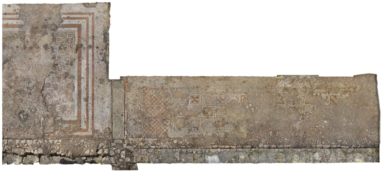 below Photogrammetric scans show some of the other surviving North Range mosaics. On the left is the east end of the 18m long by 6m wide reception hall mosaic (Room 25b), and on the right, beyond the original threshold stone and doorway, is the gallery mosaic (Room 33).