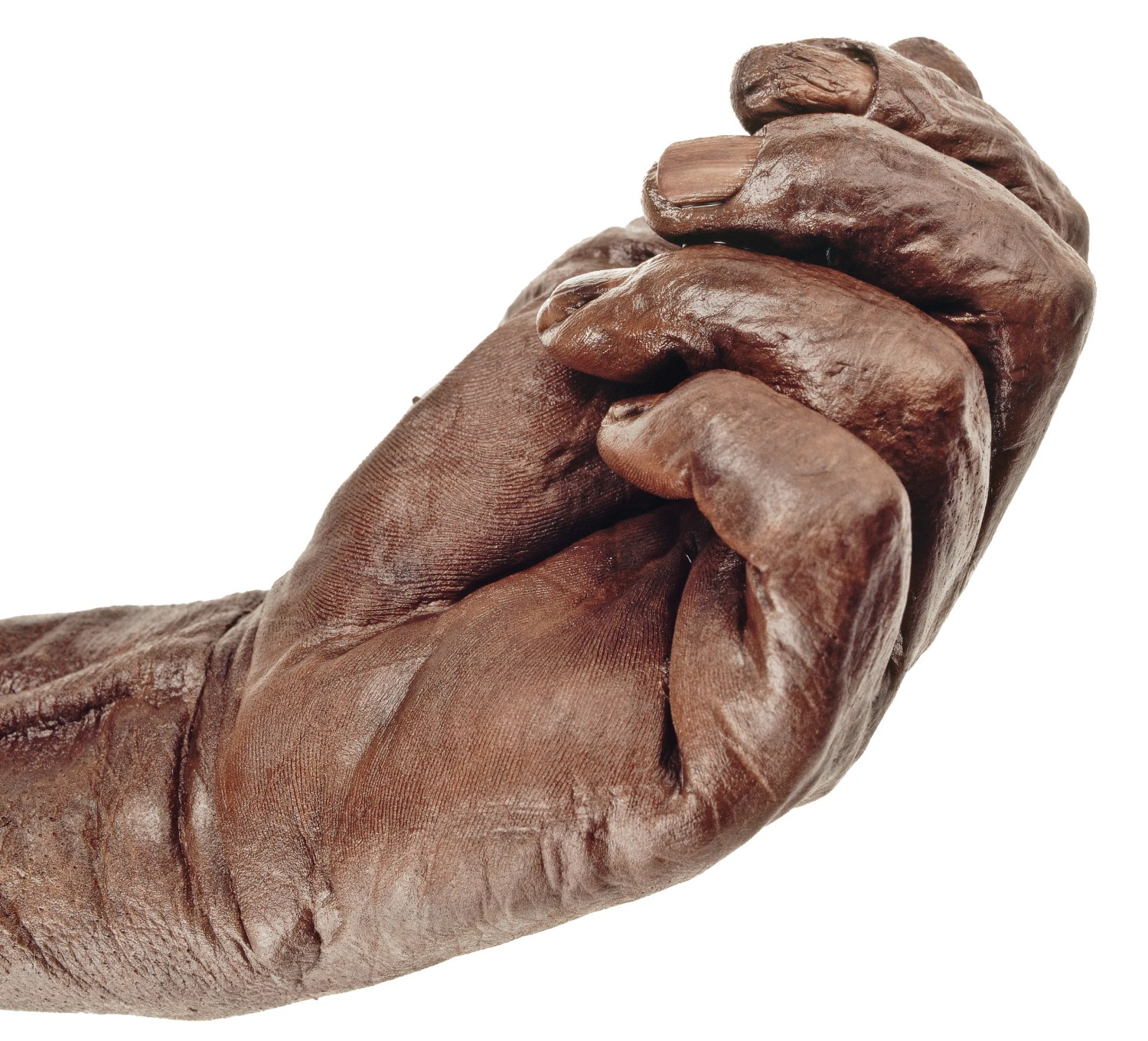 OPPOSITE The peat-mummified hand of Old Croghan Man, from Co. Offaly, preserves intimate details including the texture of his skin and the shape of his fingernails. Bog bodies like this are particularly resonant archaeological discoveries, being so recognisably human.