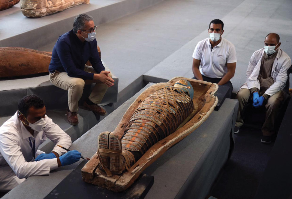 BELOW One of Saqqara's newly discovered coffins was opened for X-ray analysis.
