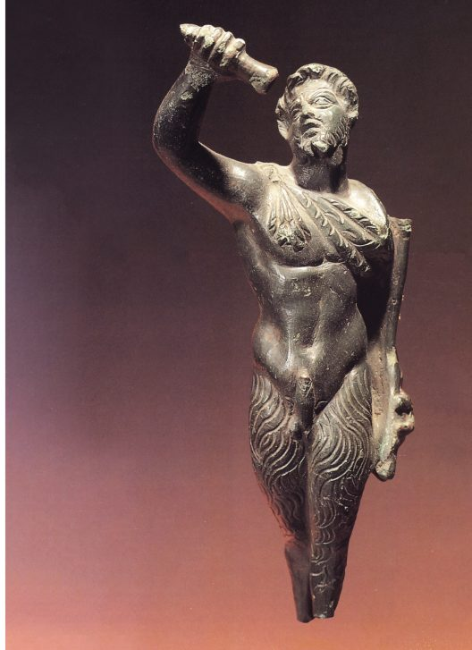 RIGHT Pan, as depicted on the bronze statuette found as a gun battery was being constructed on Mount Mile in 1981. The god is shown with a bearded human face, discreet horns, and goat-legs. He is pouring oil from an alabastron. Mount Mile overlooked the ancient city of Butrint, which features in the story surrounding the god's demise.