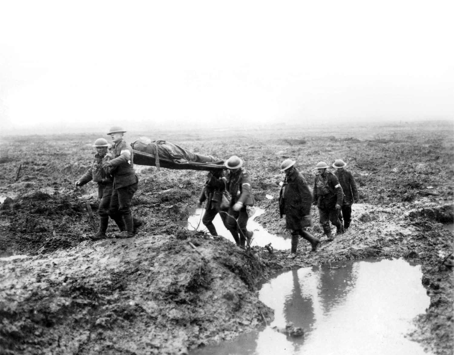 BELOW The First World War coincided with a climatic anomaly that brought increased rain and colder weather, contributing to the conflict's infamously muddy battlefields. Wet conditions were a particular feature of Passchendaele the 3rd Battle of Ypres in